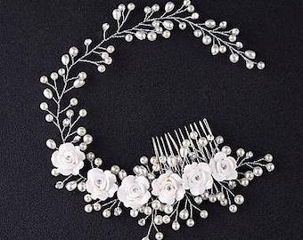 """Bridal hair vine, Flower hair vine, White Rose and Pearl hair vine, bridal tiara, 12"""" hair vine, wedding hair accessory, Floral Hair Comb"""