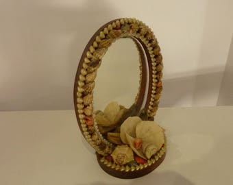 Shell mirror craft Souvenir vintage. REF 215