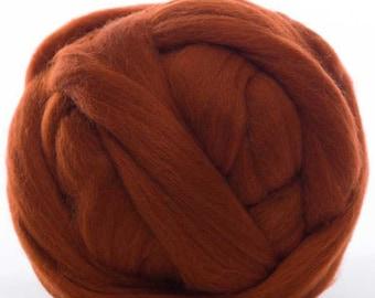 Merino Wool Top - 22.5 micron -Rust - 4 ounces