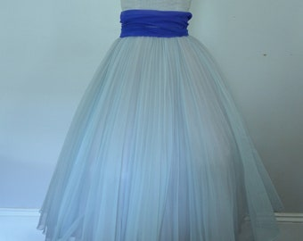 1950s Blue Prom Dress   Vintage Formal Gown   Size Small