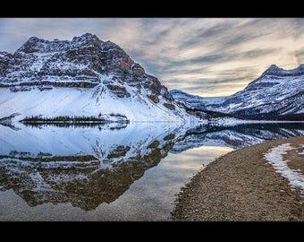 Reflections in Bow Lake, Alberta, Canada