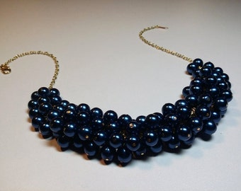 Navy Blue Pearl Cluster Gold Necklace, Wedding Bridesmaid Valentines Mothers Day Jewelry Gift, Mom Sister Grandmother Jewelry Gift