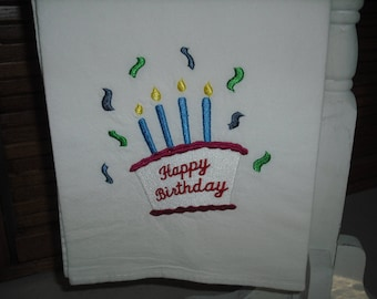 Happy birthday flour sack towel. machine embroidered.