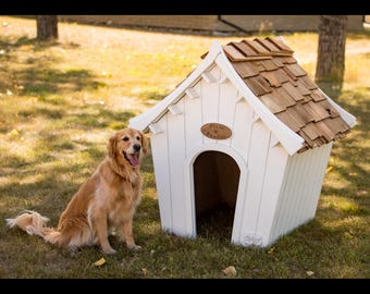 Centennial Dog House: Outdoor, indoor, solid wood, modular and modern yet timeless for pet dogs, doggies, pups and puppies or cats