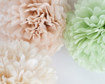 Champagne and ligh green  - 15 mixed sizes Tissue paper Pom Poms set  - paper pompoms -very fluffy -wedding party  decorations