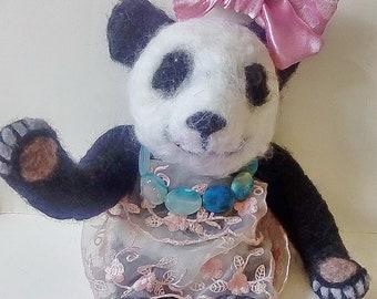 Needle felted panda. Needle felted Animal. Needle felted soft sculpture.ooak