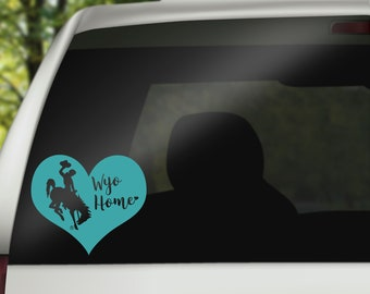 Wyoming Decal, Wyoming Home Decal, Bucking Horse Decal, Wyoming Car Decal, Car Accessory, Wyoming Cowboys, Wyoming Pokes, Teal Heart Decal