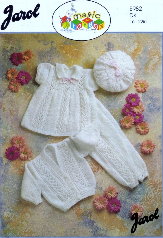 Baby DK 8ply Light Worsted Dress Leggings Cardigan & hat sizes 16 ...