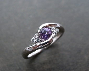 Amethyst Ring for Women & White Sapphire Band, Antique Inspired Ring in 14/18k Gold or Platinum, Create My Own Ring with Custom Ring for Her