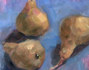 """Original Painting, Pears, Kitchen art, purple, wall art, impressionism, 6x6"""""""