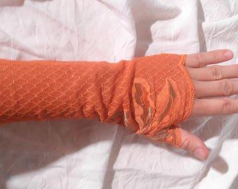 Orange lace flower Khaki, long fingerless gloves