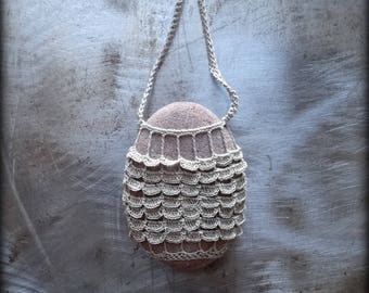 On Sale, Artist Necklace, Crocheted Lace, River Stone, Scalloped, Gift, Original, Mocha Ruffled, Handmade, Nature, Unique, Bohemian, Monicaj