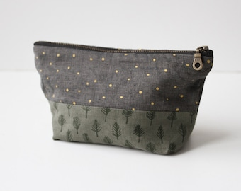 Trees & Stars Small Traveler Pouch. Project Bag. Zipper Pouch. Cosmetic Bag. Pencil Case.