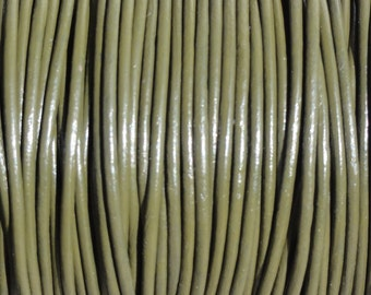 2mm Olive Green Genuine Leather Cord Round - 2 Yard Increments
