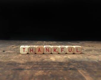 Vintage Thankful Sign, Thanksgiving, Letter Blocks, Scrabble Blocks, Rustic Decor, Scrabble Cubes, Letter Tiles