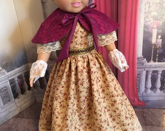 American Girl Historical Victorian 1861-1865 Day Dress With Pelerine and Gloves