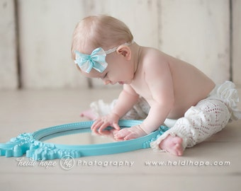 Taffy Nest - Aqua Cream Lace Bow Headband - Velvet - Blue Pink Black OR Cream - Newborn Infant Baby Girl Toddler Adult