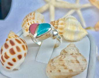 Coral and Larimar heart Ring Handmade Ring Natural Dominican Larimar 8x10mm Blue Gemstone Sterling Silver Ring Size 4 Blue Larimar Jewelry