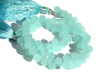 1/2 Strand 28 Pcs Aqua Chalcedony Faceted Teardrop Briolettes Large Size 10x7mm - 12x8mm  Finest Quality Wholesale Price