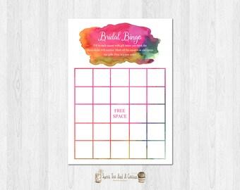 Watercolor Rainbow Bridal Shower Bingo Printable Digital File Instant Download Wedding Game Board Colorful Vibrant Modern