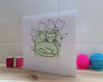 Stitched Cat Card, Birthday Card,  Stitched Card, Greetings card Blank Card, Note Card