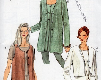 Free Us Ship Sewing Pattern Vogue Woman 9200 Retro 1990s 90's Easy Cardigan Jacket Vest top Size 6 8 10 Bust 30.5 31.5 32.5 Uncut