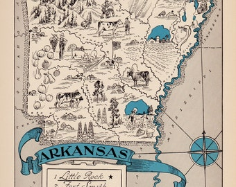 30's Vintage ARKANSAS Picture Map of Arkansas State Cartoon Map Print Gallery Wall Art Map Collector Gift for Traveler Wedding Birthday Gift