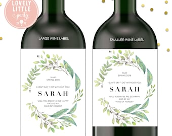 Greenery Wreath Will you be my bridesmaid wine labels, bridesmaid wine labels, watercolor labels, bridesmaid gift - style 1003