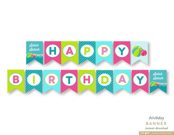 Unique Happy Birthday Banner Girls Pool Party Summer Birthday ZU79