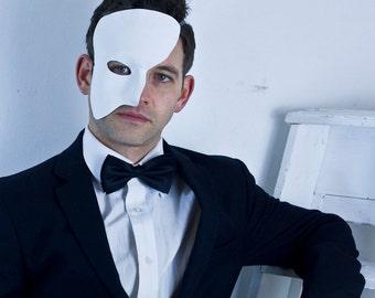 Black White Leather Phantom of the Opera Mask, Masquerade Ball