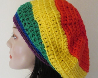 Rainbow Slouchy Beanie Gay Pride French Beret Multi Color Tam Boho Slouchy Hat