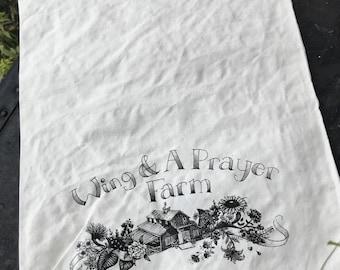 Wing & A Prayer Farm Muslin Project Bag Knitting Crochet Embroidery Fiber Art Drawstring Tote with Farm Logo