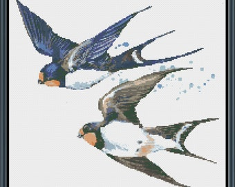 Watercolor Flying Swallows Cross Stitch Pattern - Bird Cross Stitch - Bird Art Pattern - Modern Pattern - Instant Download #WC-55