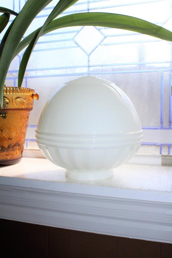 Art Deco Milk Glass Light Fixture Globe Shade Vintage 1930s
