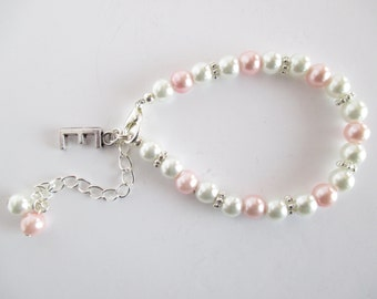 Pink Personalised Flower Girl Bracelet, Flower Girl Jewelry, Pearl Flower Girl Bracelet, Girl Wedding Jewellery, Flower Girl Keepsake Gift