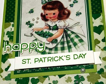 Happy St. Patrick's Day       Lassie With Apron full of Shamrocks!