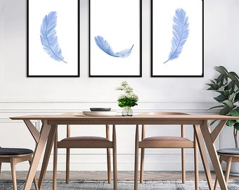 Set of 3 feathers watercolor painting art prints, feather illustration, lavender blue modern minimal home decor,
