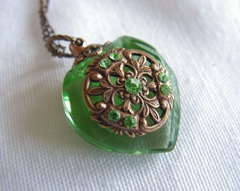 Vintage Inspired Green Crystal  Heart Perfume Bottle Necklace
