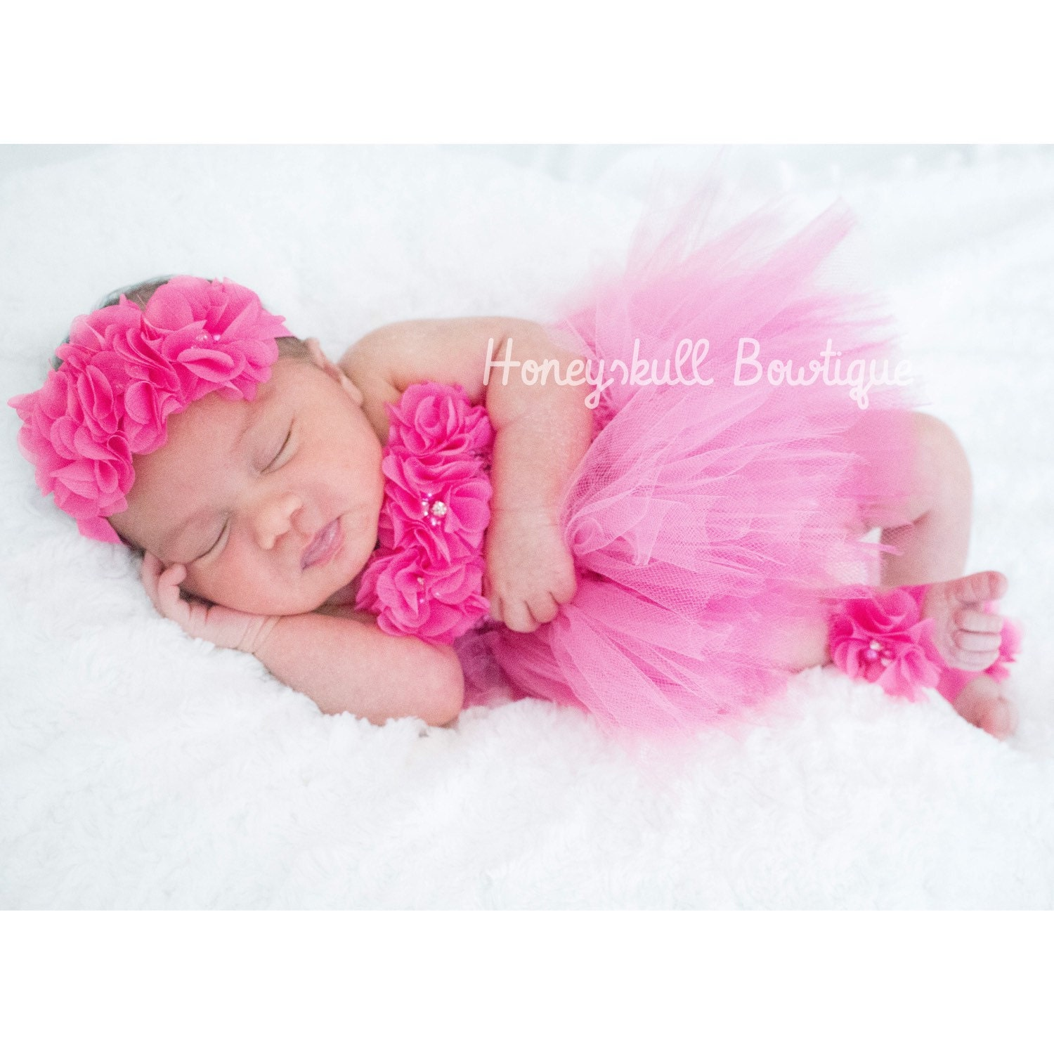 Hot Pink Baby Tutu Dress Newborn 18 months Prop Tutu Set