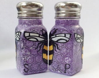 Purple Bee hand painted glass salt and pepper shakers