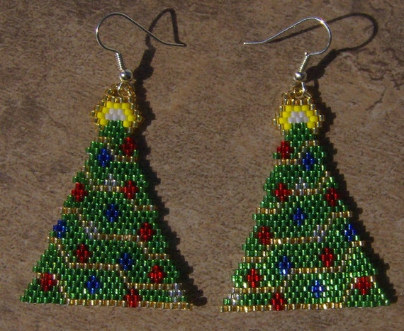 Christmas Tree Earrings Hand Made Seed Beaded