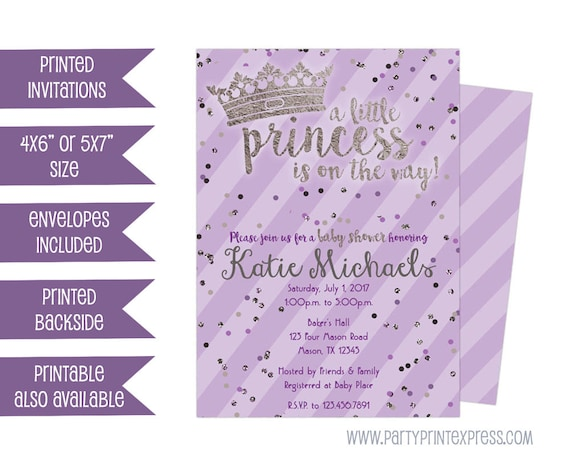 Princess baby shower invitations purple silver princess baby filmwisefo Choice Image
