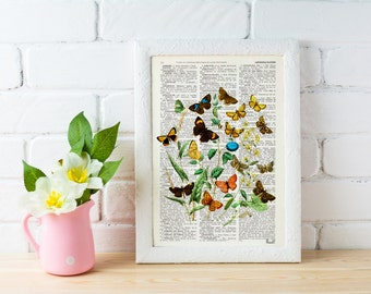 Wild Flowers and butterflies Art print- Dictionary art Wall decor butterflies and flowers gift art print flowers BFL035