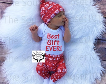 Unisex Christmas Outfit,Best Gift Ever, My First, Girl Coming home outfit,Boy Coming Home Outfit,Bears,Trees,Deer,Red and White,Country
