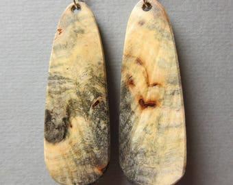 Long Narrow Buckeye Burl large  Earrings Exotic Wood Handmade ExoticWoodJewelryAnd Ecofriendly repurposed