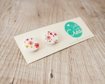 White-colored, hand-made, floral-coloured lobe paper earrings, friendly