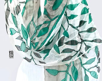 Green Silk Shawl, Hand Painted Silk Scarf, black silk scarf, Chiffon Shawl, Scarf for Wife, Emerald Green and Black Woodcut Vines, Takuyo,