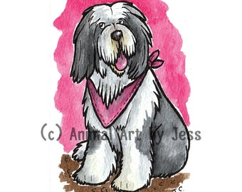 """CUSTOM 8x6"""" mounted cartoon in acrylic ink of YOUR dog or breed, by Yorkshire pet artist Jess Chappell, your choice of colour"""