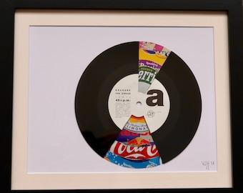 "Vinyl record art,  Mixed Media Collage- "" Pop"" record"