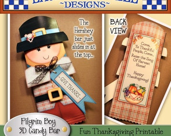 Pilgrim Candy Bar Wrapper, Thanksgiving candy bar wrapper, Laurie Furnell, Pilgrim printable, Thanksgiving printables, Fall candy wrappers
